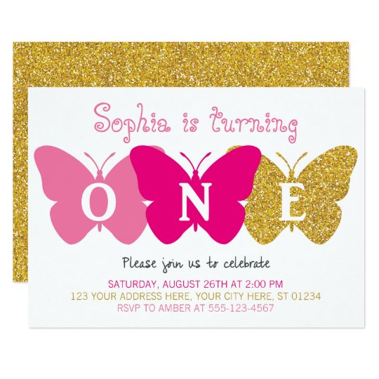 Butterfly First Birthday Invitation | Pink & Gold