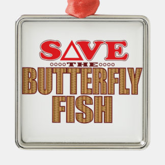 Butterfly Fish Save Silver-Colored Square Decoration