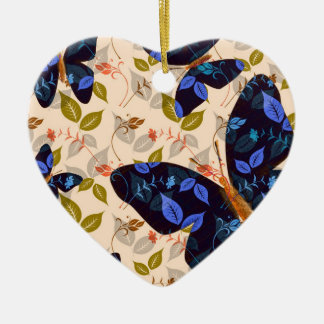 Butterfly Flight Double-Sided Heart Ceramic Christmas Ornament