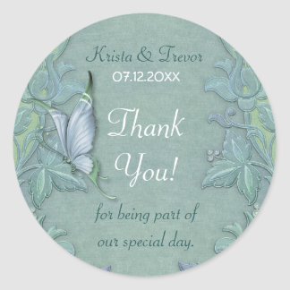 Butterfly Flight Floral Thank You Round Sticker