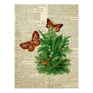 Butterfly floral art on vintage dictionary page post card