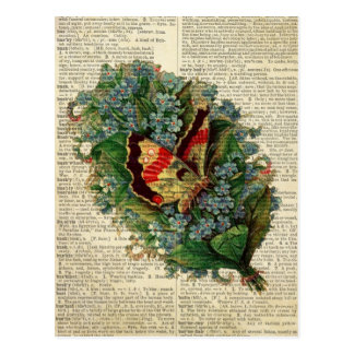 Butterfly floral art on vintage dictionary page post cards
