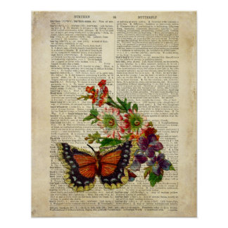 Butterfly floral art on vintage dictionary page poster