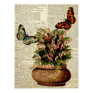 Butterfly floral art on vintage dictionary page Re Postcard