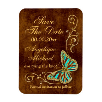 Butterfly floral brown aqua gold flexible magnets