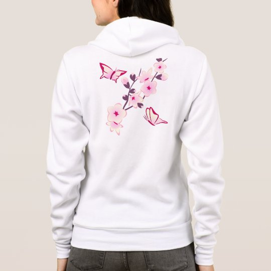 Butterfly Floral Cherry Blossoms Womens Hoodie