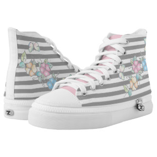 Butterfly Floral Grey Striped High Tops