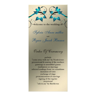 butterfly floral ivory aqua  Wedding program Customized Rack Card