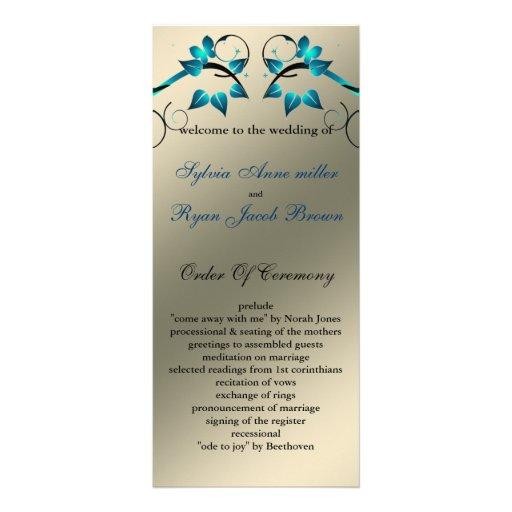 butterfly floral ivory aqua  Wedding program Custom Rack Card