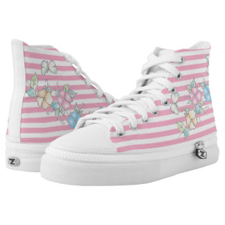 Butterfly Floral Pink Striped High Tops