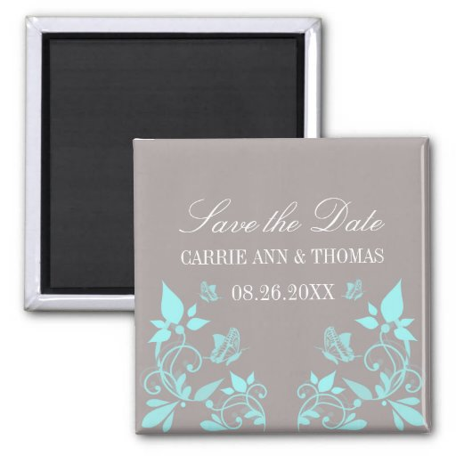 Butterfly Floral Save the Date Magnet, Aqua