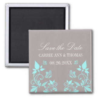 Butterfly Floral Save the Date Magnet, Aqua Magnet