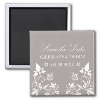 Butterfly Floral Save the Date Magnet, Ivory Magnet