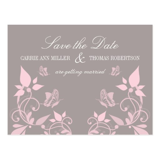 Butterfly Floral Save the Date Postcard, Pink