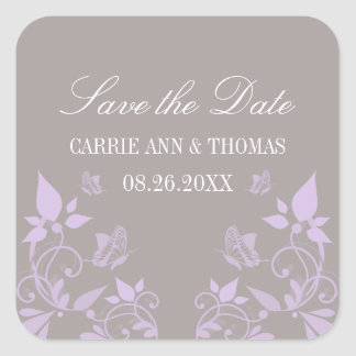 Butterfly Floral Save the Date Stickers, Lilac Square Sticker