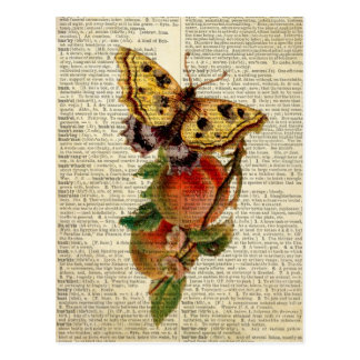 butterfly floral vintage dictionary postcard