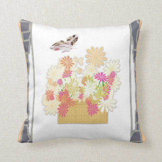 Butterfly Flower Basket American MoJo Pillow Throw Cushion