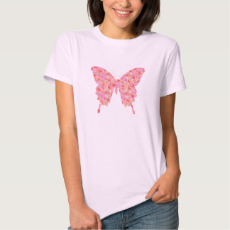 Butterfly, flower pattern in pink and orange shirts