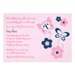 Butterfly Flower Pink Navy Baby Shower Invitations