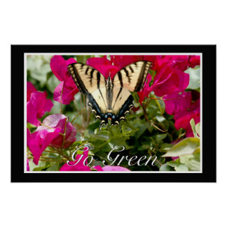 Butterfly & Flower w/ Go Green in white Posters