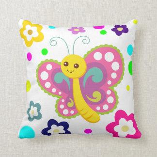 Butterfly flowers colorful cute animal nursery cushion
