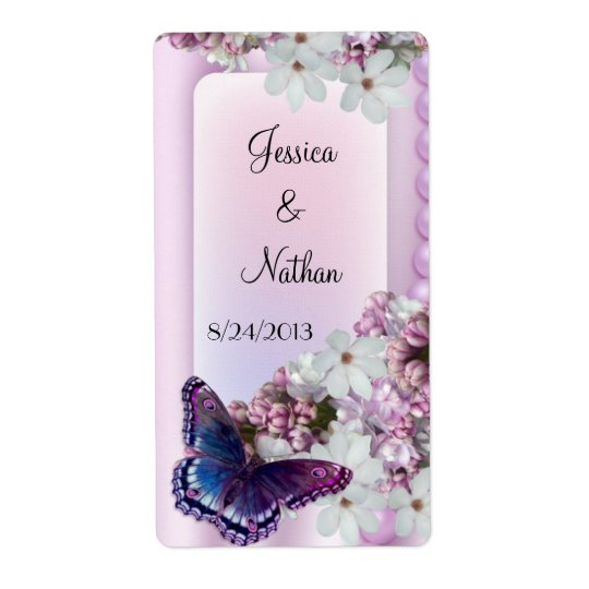 Butterfly & Flowers Custom Wedding Wine Label