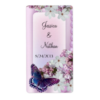 Butterfly & Flowers Custom Wedding Wine Label Shipping Label