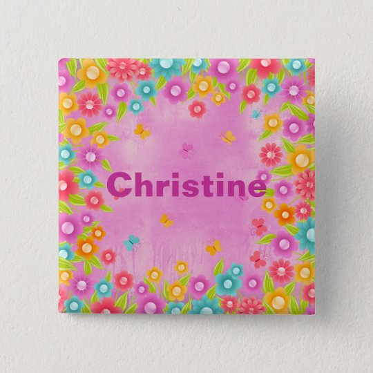 Butterfly flowers customisable name badges