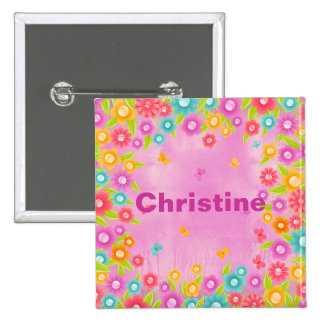 Butterfly flowers customizable name badges