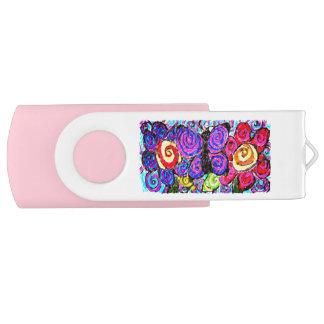 Butterfly flowers fun swivel USB 3.0 flash drive