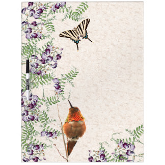 Butterfly Flowers Hummingbirds Dry Erase Board