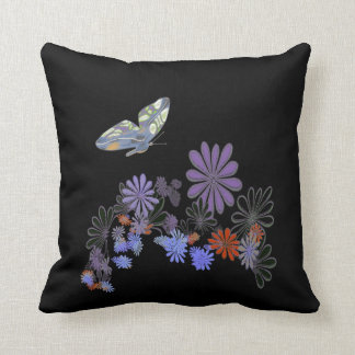 Butterfly, Flowers on Black American MoJo Cushion