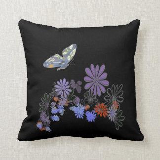Butterfly Flowers on Black American MoJo Pillow