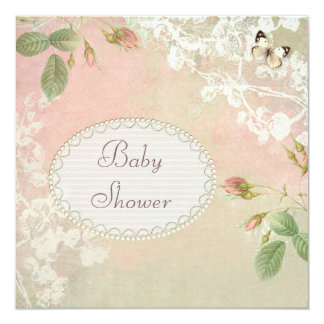 Butterfly & Flowers Shabby Chic Baby Shower 13 Cm X 13 Cm Square Invitation Card