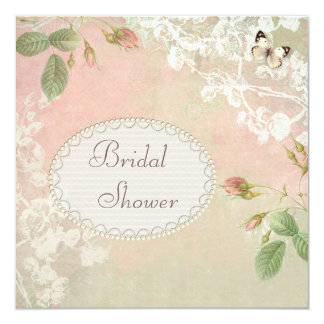 Butterfly & Flowers Shabby Chic Bridal Shower 13 Cm X 13 Cm Square Invitation Card