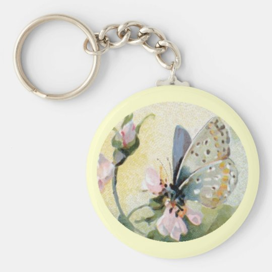 Butterfly Flowers Vintage Keychain