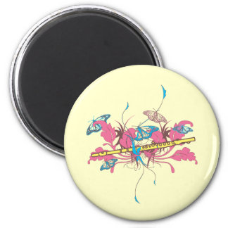 Butterfly Flute 6 Cm Round Magnet
