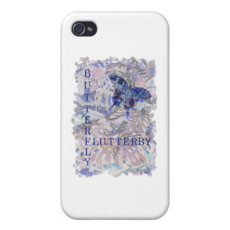 Butterfly Flutterby Pink Blue iPhone 4 Case
