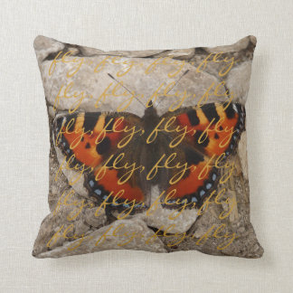 Butterfly Fly Wording Throw Pillow American MoJo