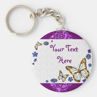 Butterfly Frost Basic Round Button Key Ring