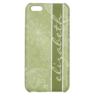 Butterfly Garden iPhone 5 Glossy Case| olive green Cover For iPhone 5C