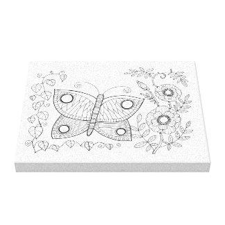 Butterfly Garden Line Art Design Canvas Print
