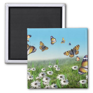 Butterfly Garden Square Magnet