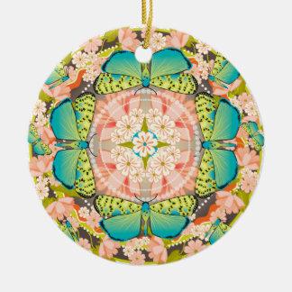 Butterfly Garden Round Ceramic Decoration