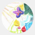 Butterfly Garden Round Sticker