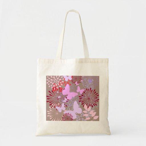 Butterfly Garden Spring Flower Design Canvas Bags