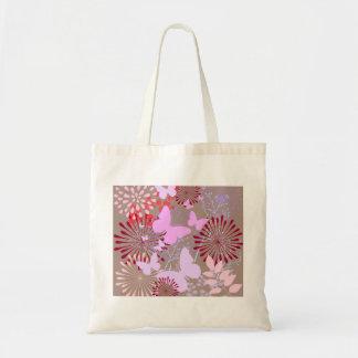 Butterfly Garden Spring Flower Design Budget Tote Bag