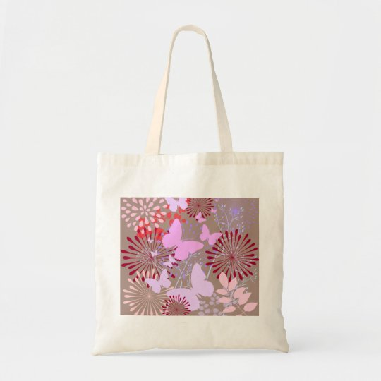 Butterfly Garden Spring Flower Design Tote Bag