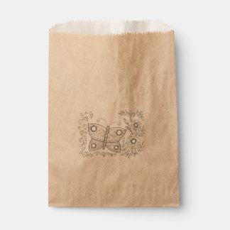 Butterfly Garden Two Line Art Design Favour Bags