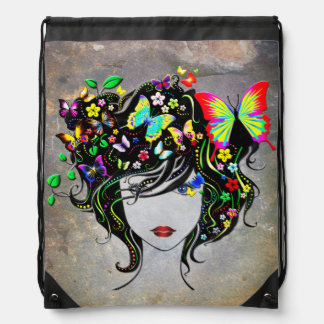 Butterfly Girl 1A Drawstring Backpack Options